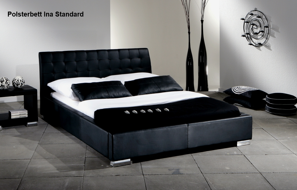 supply24 lederbett polsterbett ina leder bett weiss schwarz 100x200 140x200 160x200 180x200. Black Bedroom Furniture Sets. Home Design Ideas