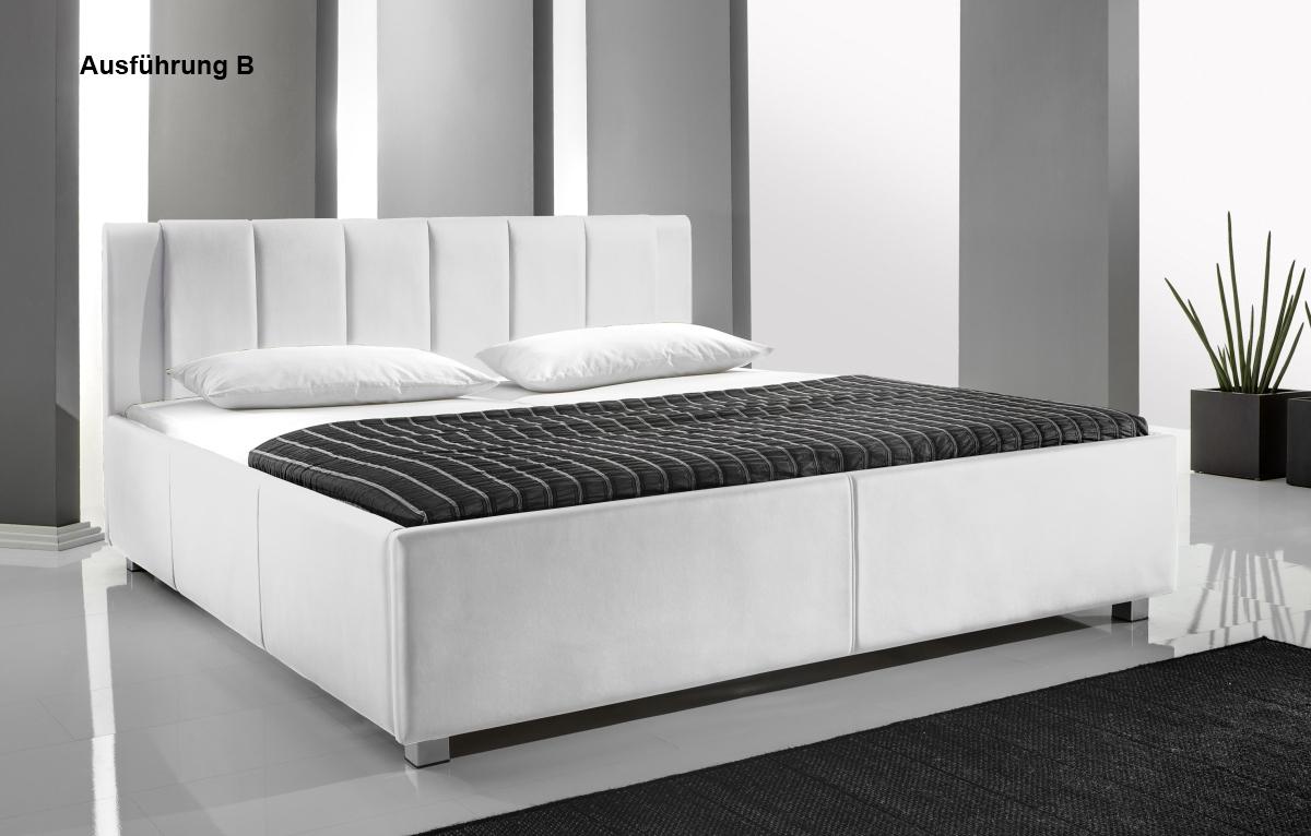 supply24 designer leder bett polsterbett mia weiss 3 verschiedene kopfteile 140x200 160x200. Black Bedroom Furniture Sets. Home Design Ideas