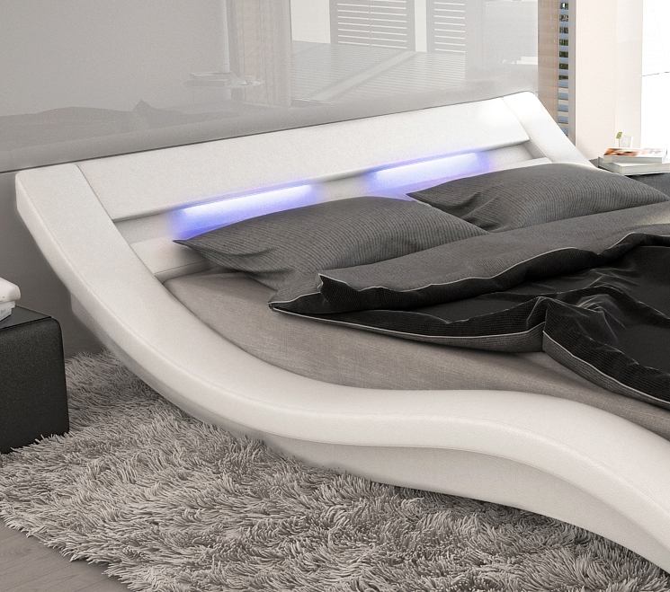 wellenf rmiges lederbett luxus leder bett schwarz wei mit. Black Bedroom Furniture Sets. Home Design Ideas