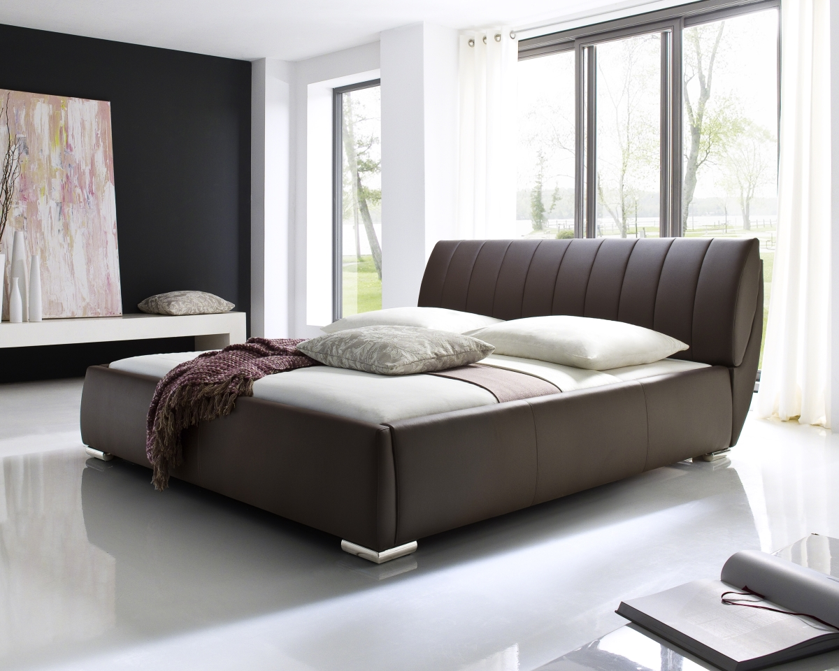 Designer lederbett polsterbett schwarz braun mit lattenrost bettkasten