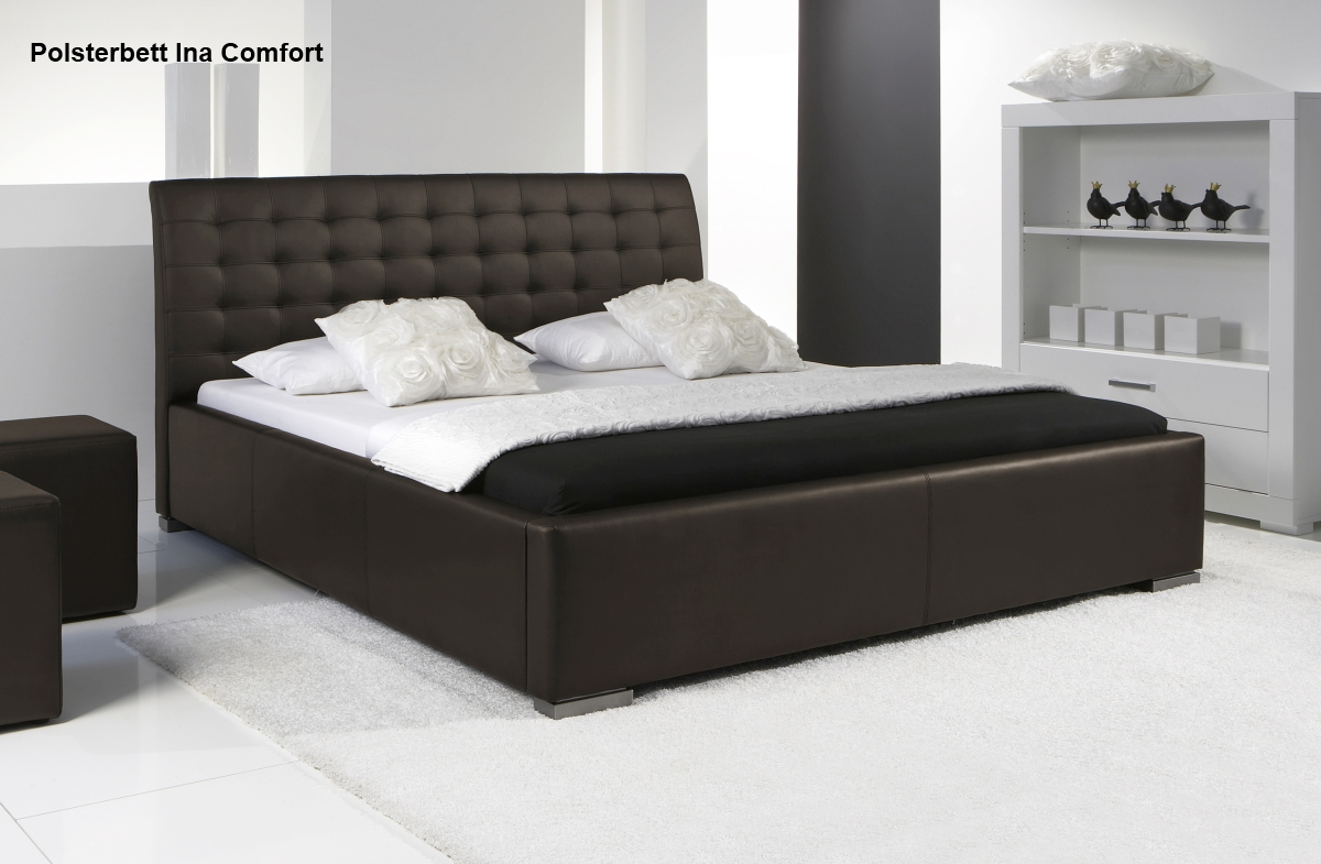 leder bett polsterbett lederbett in farbe beige oder dunkelbraun supply24. Black Bedroom Furniture Sets. Home Design Ideas
