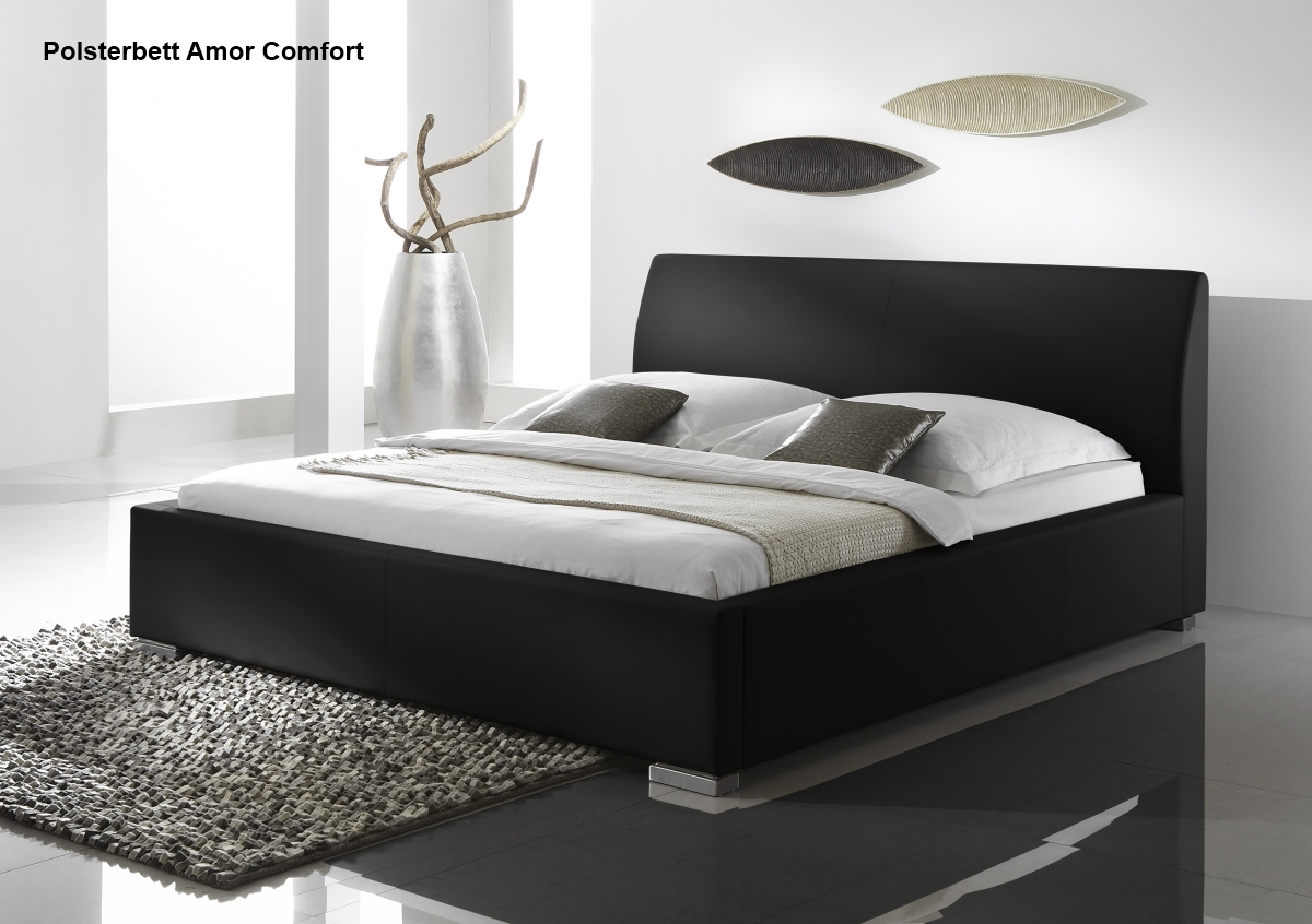 leder bett polsterbett in farbe weiss oder schwarz. Black Bedroom Furniture Sets. Home Design Ideas
