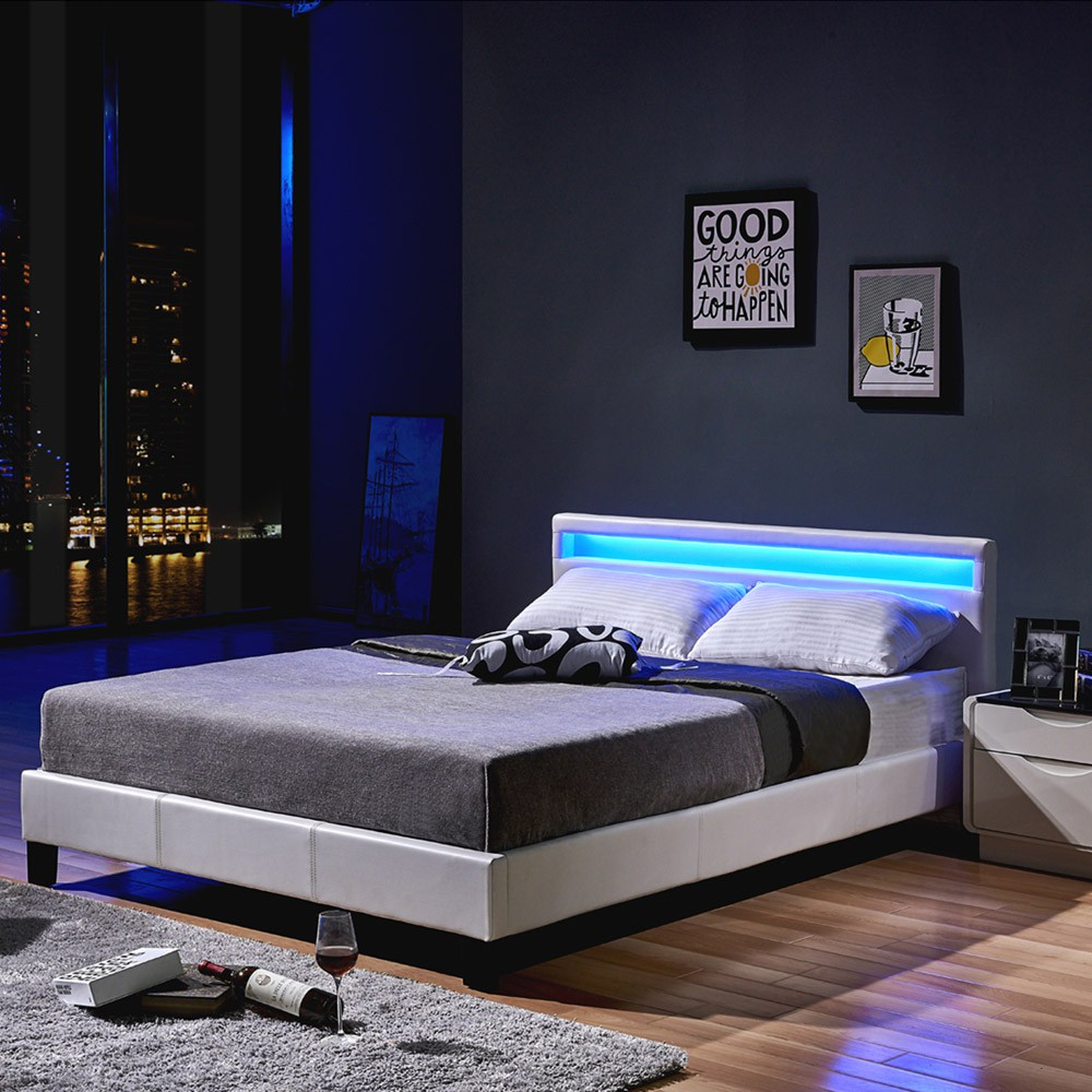 led lederbett leder polsterbett bett weiss schwarz. Black Bedroom Furniture Sets. Home Design Ideas