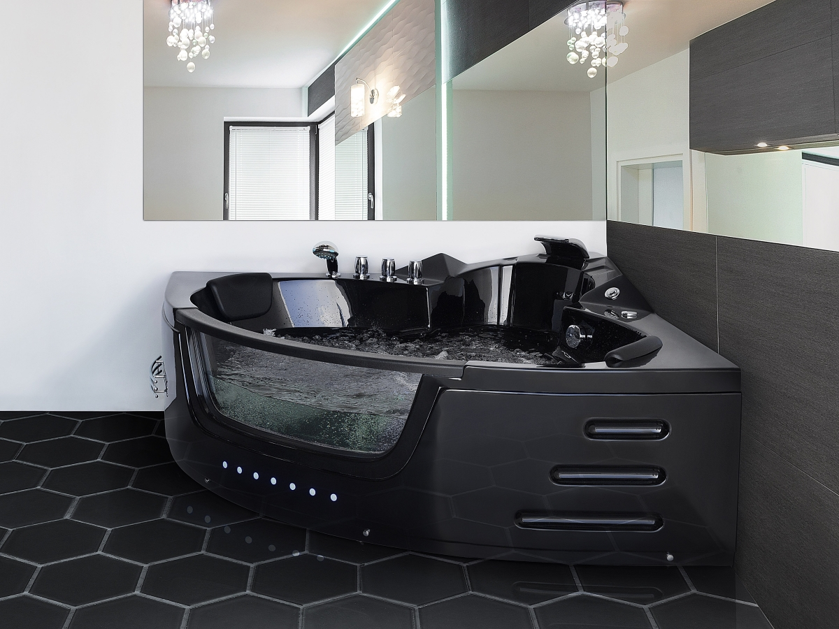 whirlpool badewanne mallorca schwarz 12 massage d sen glas led massage g nstig supply24. Black Bedroom Furniture Sets. Home Design Ideas