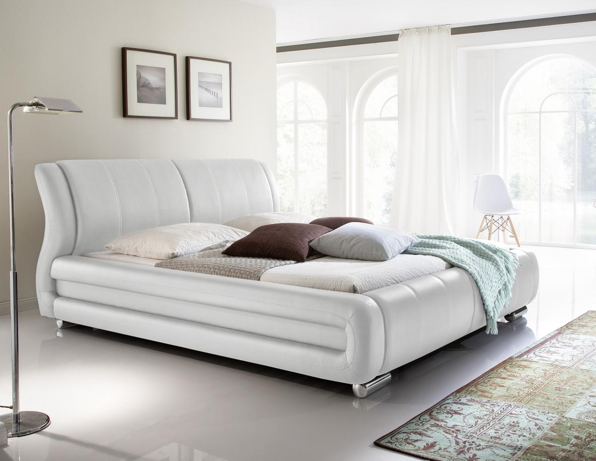 designer lederbett polsterbett weiss oder beige bett mit. Black Bedroom Furniture Sets. Home Design Ideas