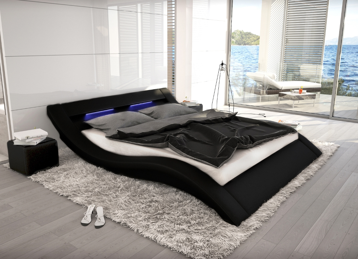 wellenf rmiges lederbett luxus leder bett schwarz wei mit led g nstig supply24. Black Bedroom Furniture Sets. Home Design Ideas