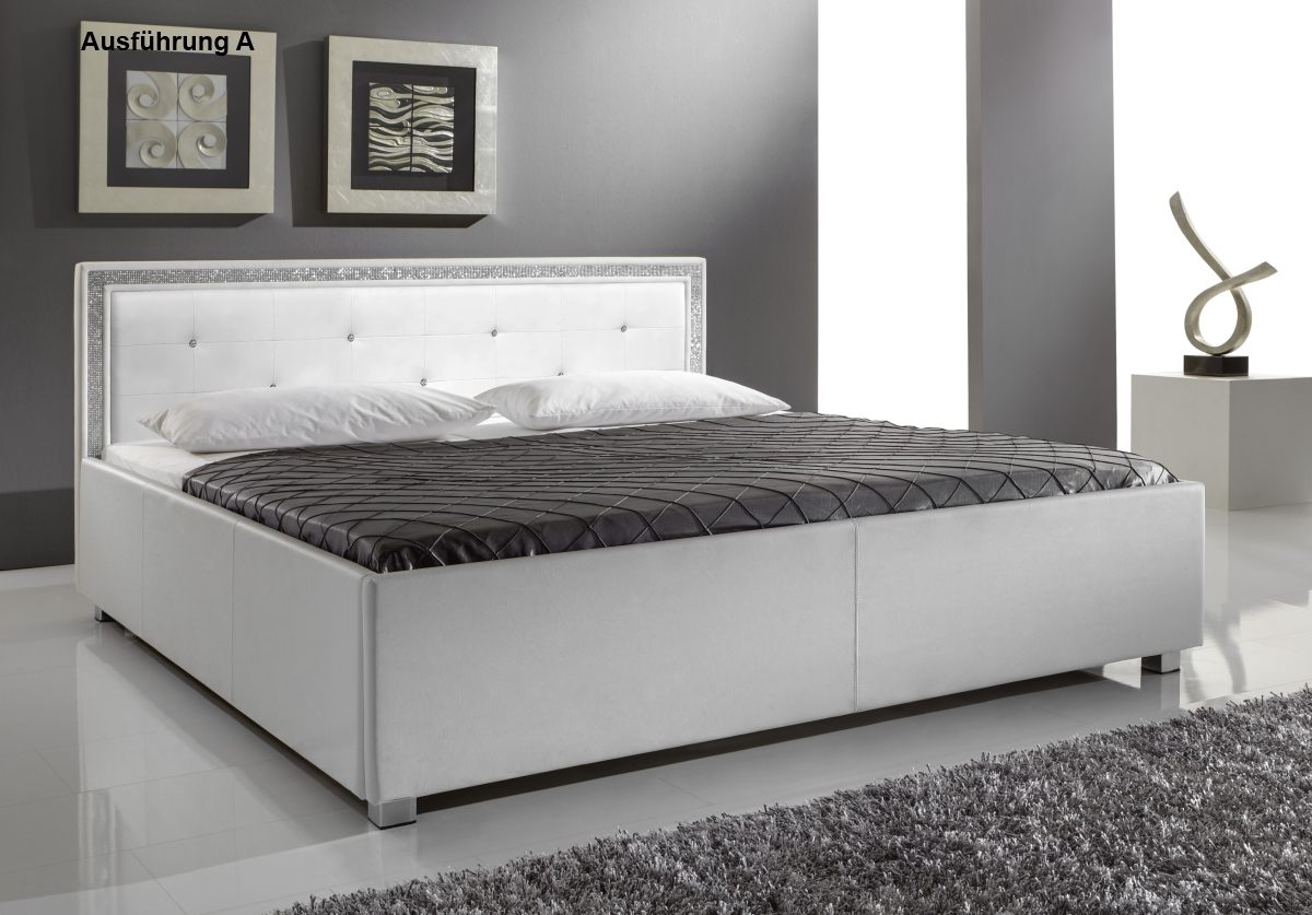 supply24 designer leder bett polsterbett mia weiss 3 verschiedene kopfteile 140x200 160x200. Black Bedroom Furniture Sets. Home Design Ideas