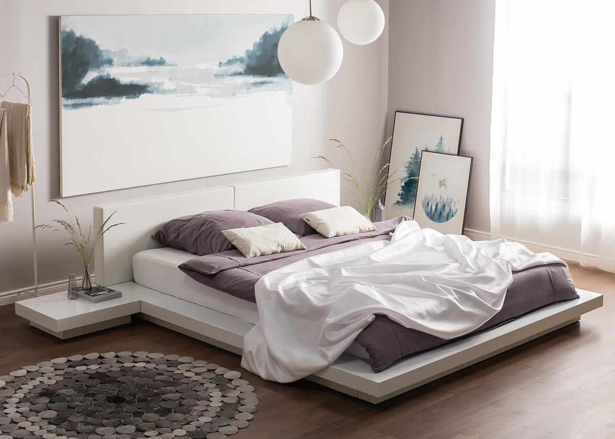 Designer Bett Japan Stil 180x200 Cm Holz Bett Walnuss Weiss Mit Lattenrost Massives Japanisches Futonbett