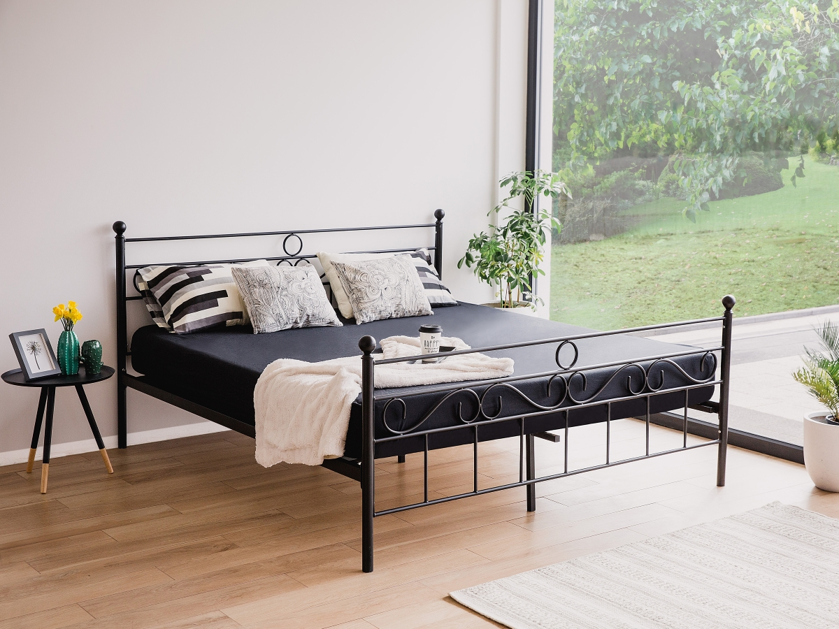 metallbett mit lattenrost lattenrahmen 160x200 180x200 schwarz g nstig supply24. Black Bedroom Furniture Sets. Home Design Ideas